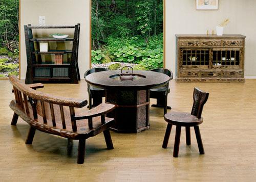 倭人〔WAJIN〕 炉卓・円テーブル ベンチ・ イス・棚・サイドボード