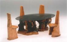 ダイニング5点セット テーブル・一刀彫チェアー