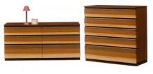 ツキ板を3色貼り合わせた前板 オールナット・モアビ・ケバンス